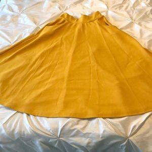 Boohoo Mustard Midi Skirt